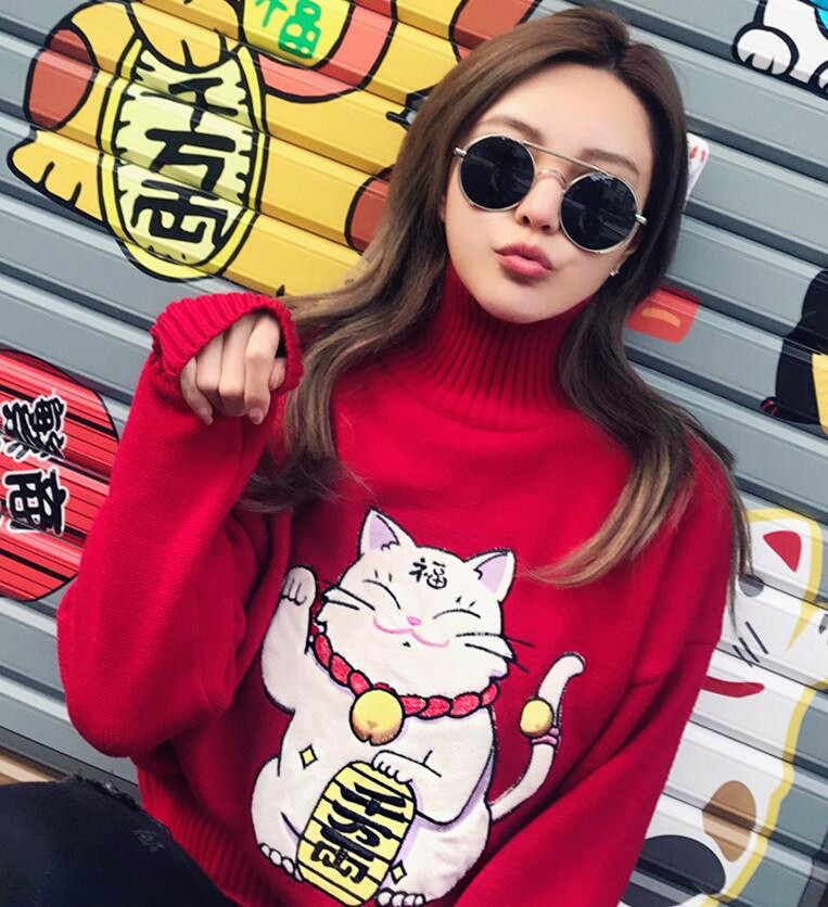 18162f437c Cute Maneki Neko   Fortune Cat   Lucky Cat High Neck Red Knitted Sweater on  Storenvy