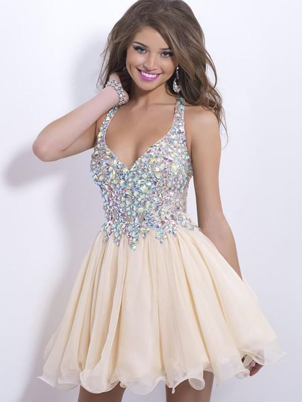 ad6b0b37f117c FREE Shipping DHL Nude Chiffon Cocktail Dress With Crystals And Stones from  accshop