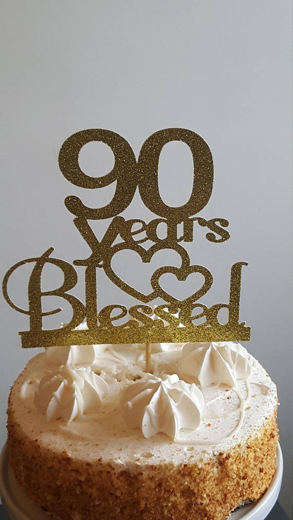 Peachy 90 Years Blessed 90 Years Cake Topper 90Th Birthday Decorations Personalised Birthday Cards Veneteletsinfo