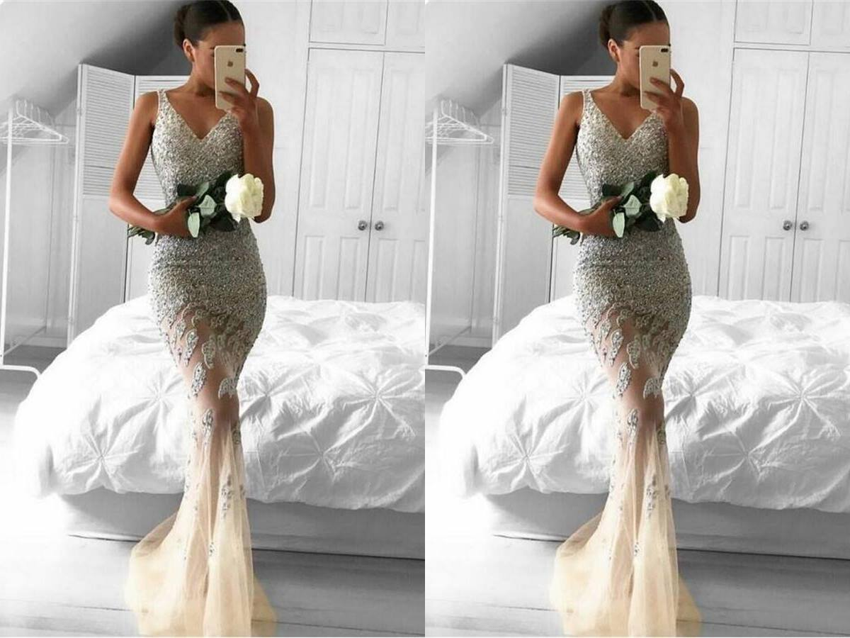 Beautiful Sparkly Long Mermaid V-neck Prom Dresses For ...