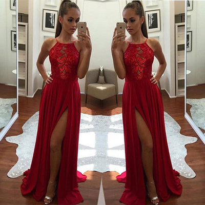 8423785f9c Unique red a-line halter split-front sleeveless evening dresses,chiffon  long prom