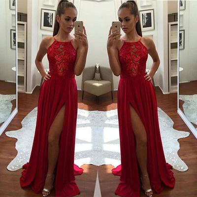 26d3a07142bd Unique Red A-Line Halter Split-Front Sleeveless Evening Dresses,Chiffon  Long Prom