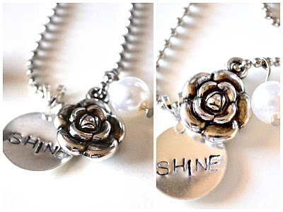 Circle Shine Necklace with rose