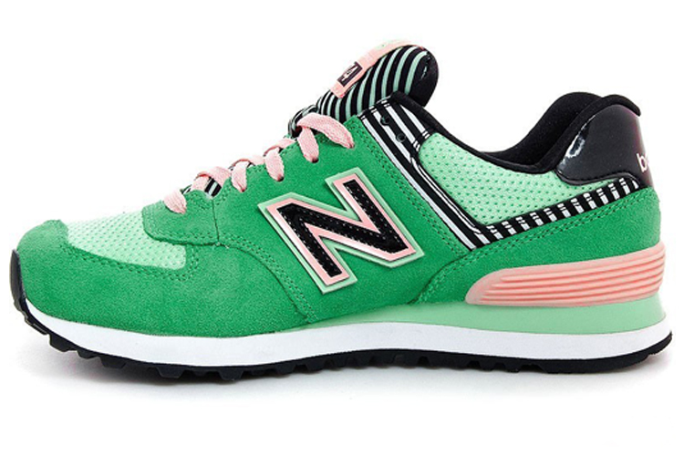 Womens New Balance 574 Palm Springs Collection Sneakers Bright Green/pink/black Wl574bfs