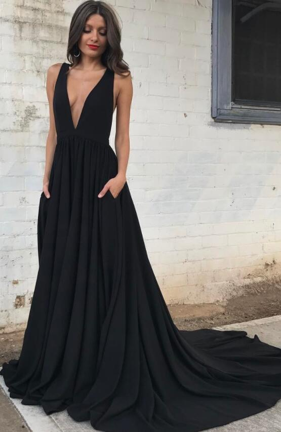 038e820948a3 Sexy Deep V Neck Chiffon Black Long Prom Dress with Train ...
