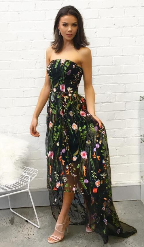 c75b87f83d5b Gorgeous Strapless High Low Black Floral Embroidery Long Prom Dress -  Thumbnail 1 ...