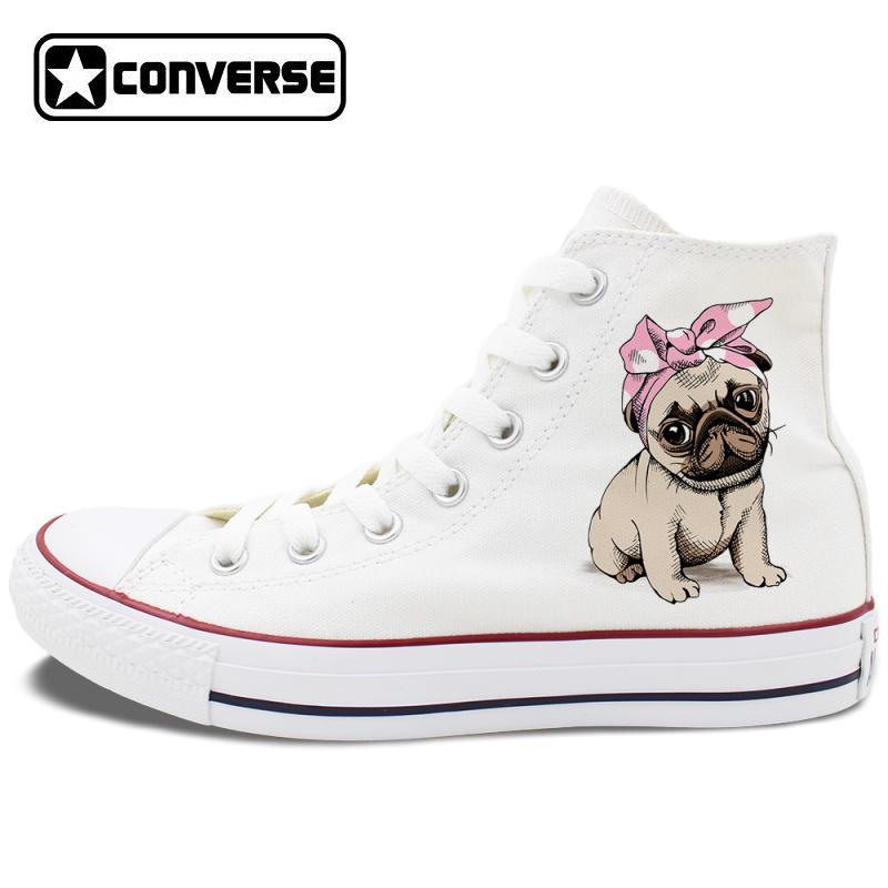b4471bd2173 Pet Dog Design Pug White Shoes Converse All Star Canvas Chuck ...