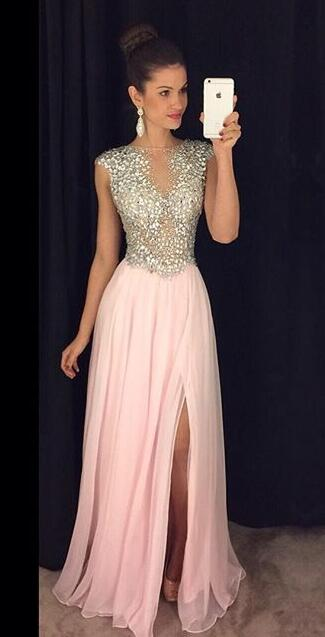 Luxurious A Line Sparkly Pink Chiffon Prom Dress With Side Slit On