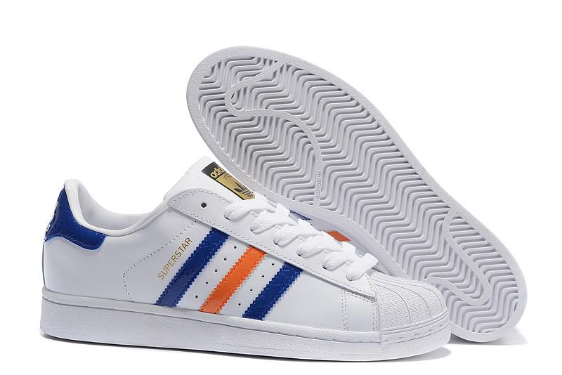2016 Mens Originals Superstar East River Shoes White/bold Blue/metallic Gold B34310