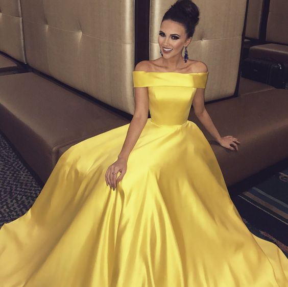 0a2d8cd5789 Sexy Off the Shoulder Yellow Prom Dresses on Storenvy