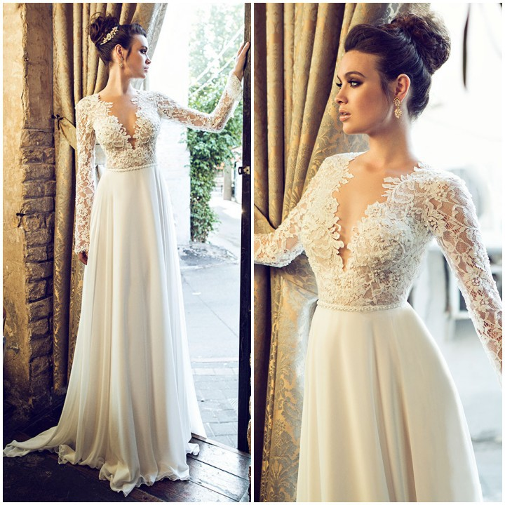 China Long Sleeves Wedding Dress Custom Made Lace Princess: Deep V Neck Top Lace A Line Long Chiffon Long Sleeves