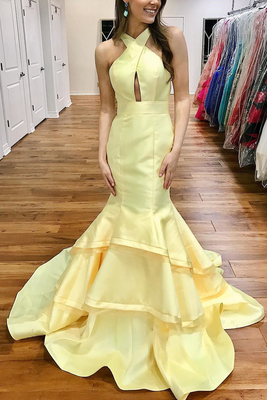 a056809d46 Gorgeous Mermaid Yellow Long Prom Dress with Open back ...