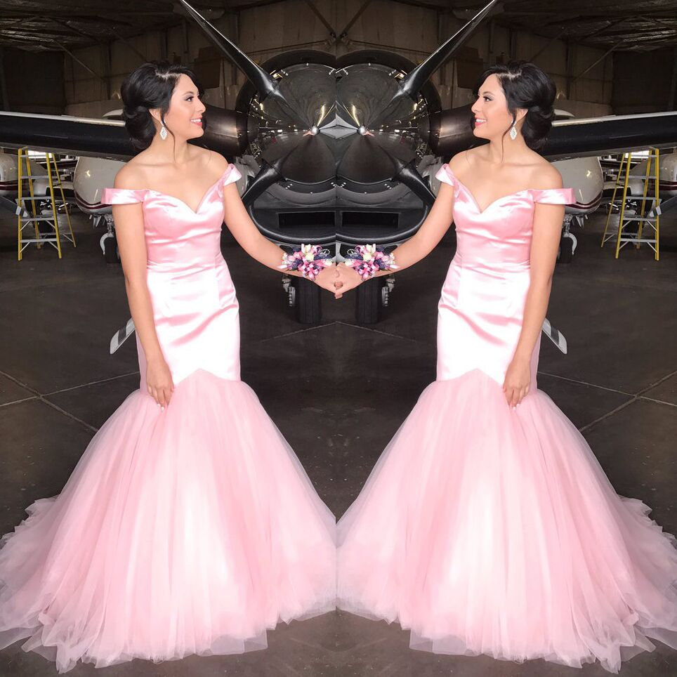 Pink Off The Shoulder Prom Dress Mermaid Formal Gown Wedding Party ...