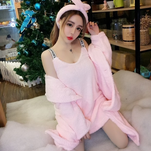 Free Express Shipping Pink Sweet And Fluffy Robe With Matching Nightgown