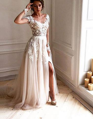 f27b341d4975 Dark Ivory Cap Sleeve Lace Beaded A line Long Evening Prom Dresses, 16155