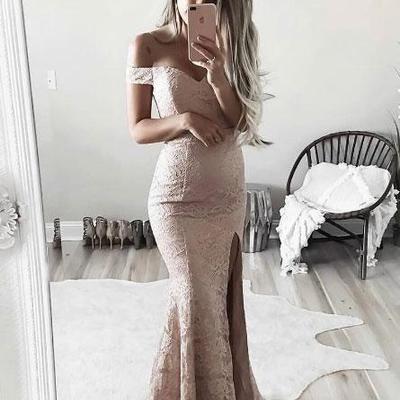 84f6822fc2 Off shoulder side slit lace mermaid long evening prom dresses