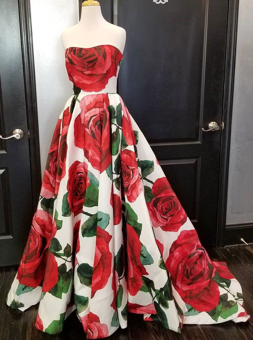 dd3452da7f Floral Long Prom Dress Print Evening Dress Ball Gown Prom Gowns ...