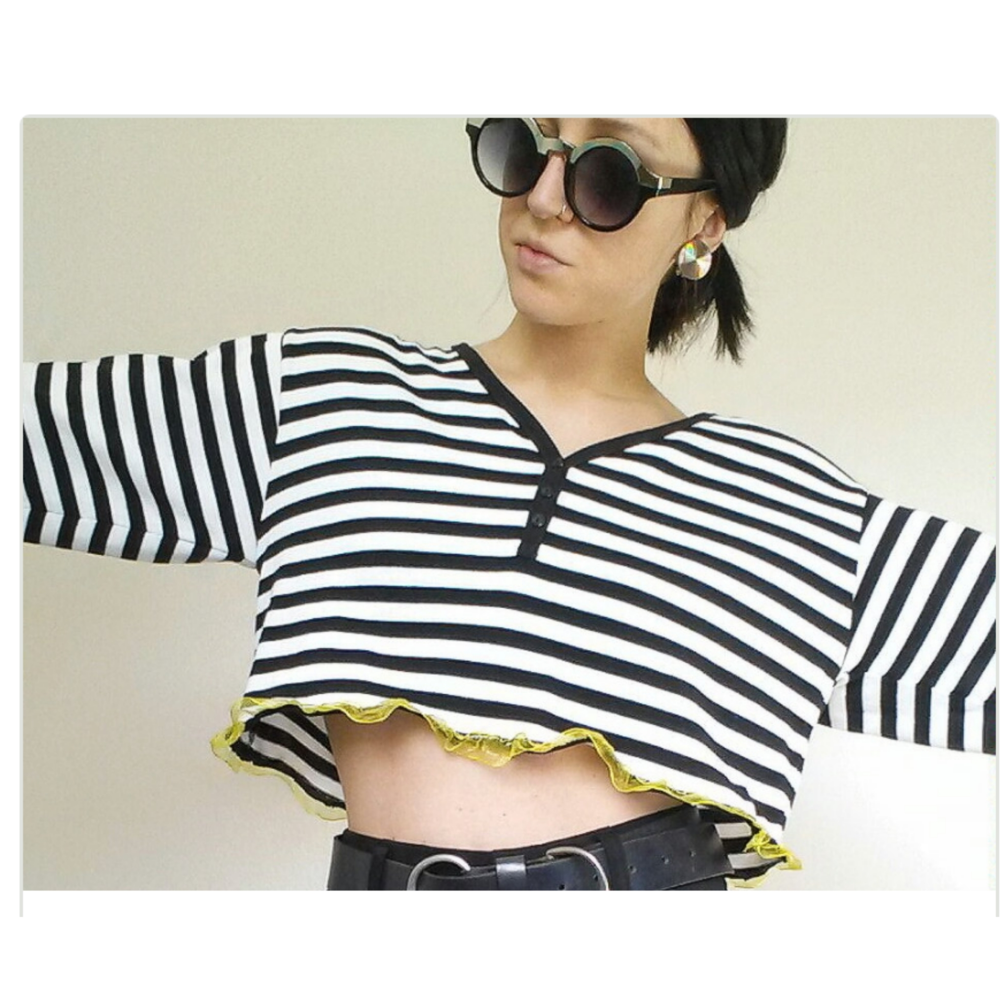 8840fa87aa7991 Vintage 90 s Striped Crop Top - Cropped Long Sleeve Shirt - Neon ...