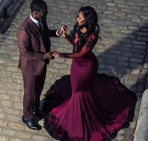 bfc5226cf7f 2018 African Burgundy Prom Dresses Sheer Long Sleeves With Black ...