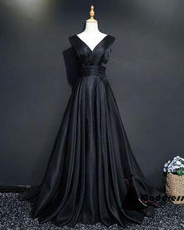 Image of 2018 simple black satin long V neck prom dress, long evening dresses