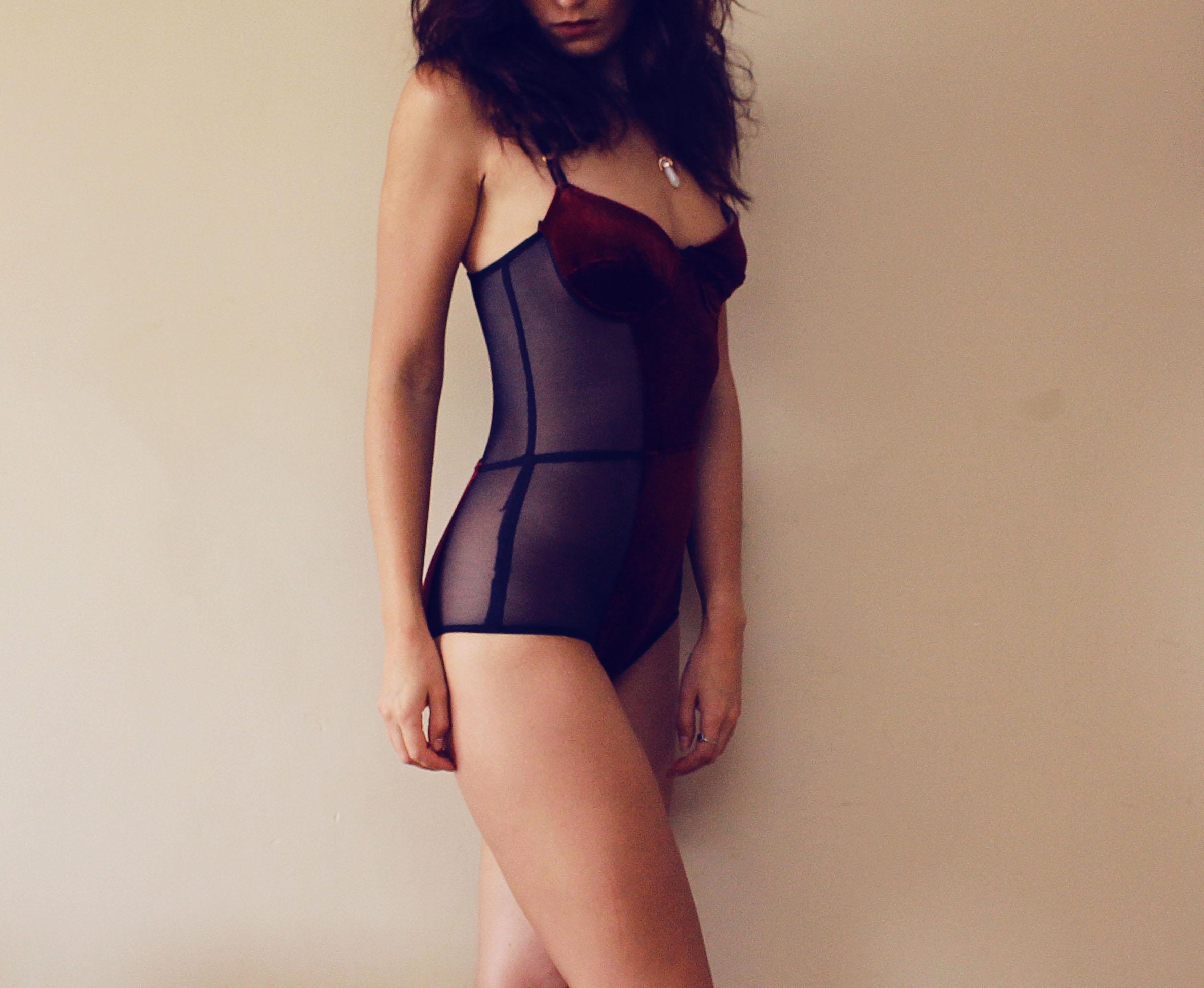9e7755546f GLORY   Burgundy and black mesh padded bodysuit   sexy lingerie velvet  bodysuit gift for her   Made to order on Storenvy