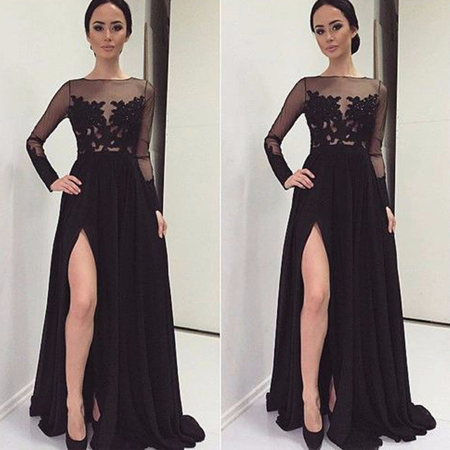 e5f1ef35f13 A Line Handmade Appliques Prom Dress with Slit
