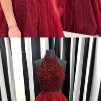 962e164a0e95a A-Line Halter Long Backless Burgundy Tulle Prom Dress with Beading H01388 -  Thumbnail 1 ...