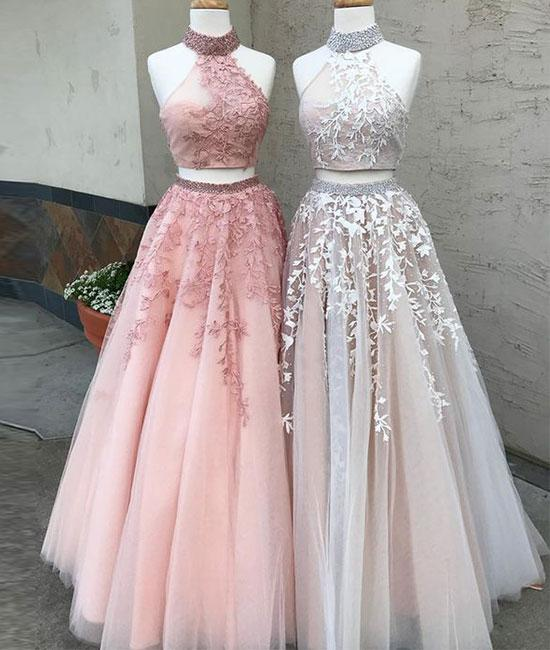 c3c7d2de1e Sexy Two-Piece High Neck Tulle Long Prom Dress with Appliques ...