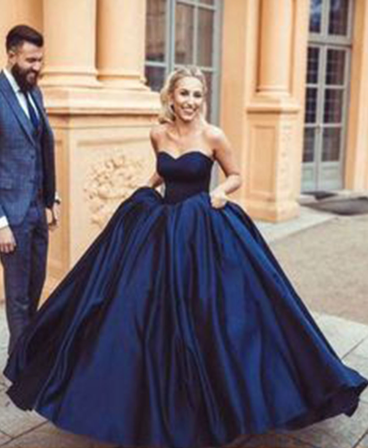 Sweetheart navy blue satin princess floor length A-line prom gown ...