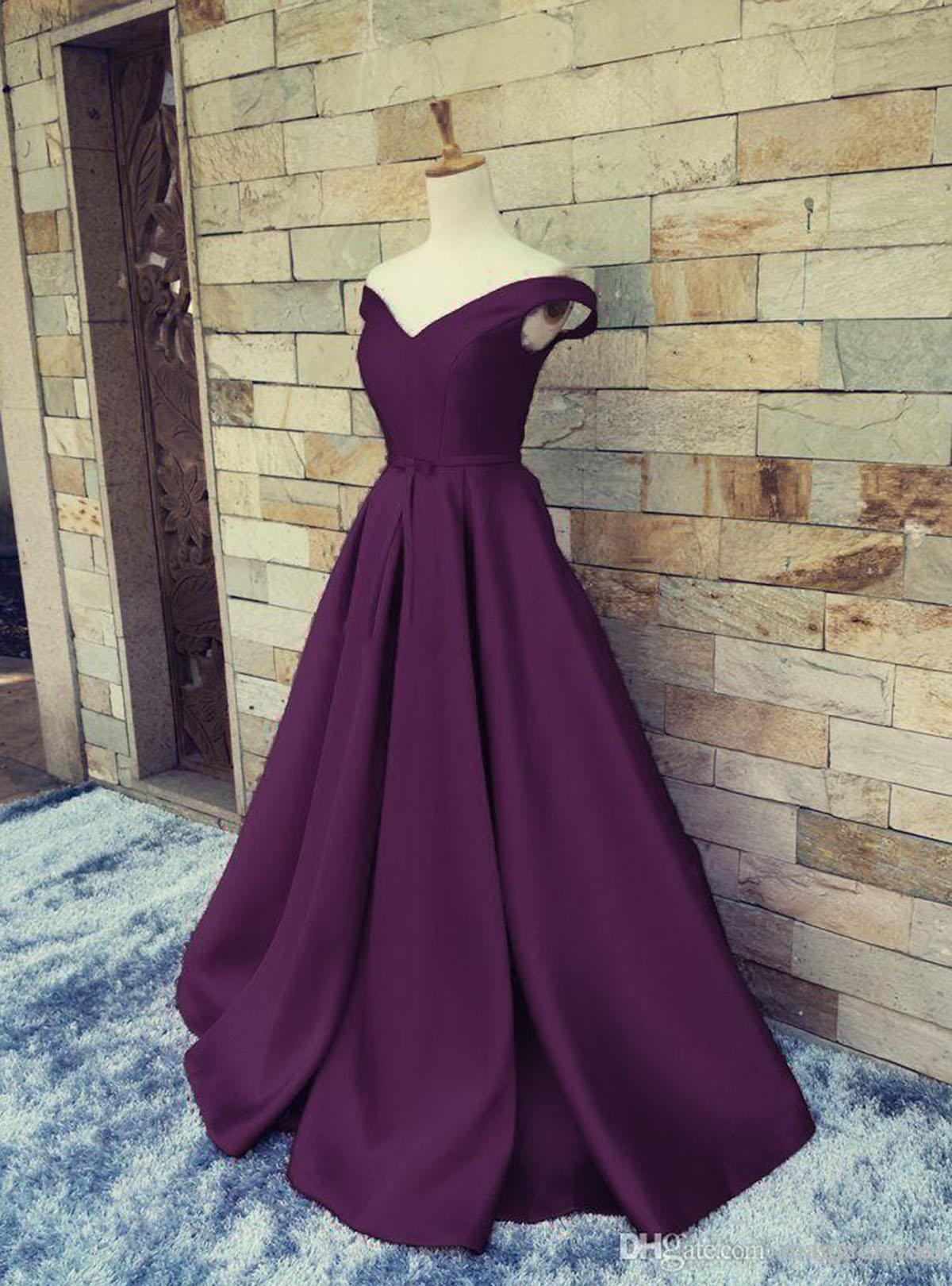 Image of 2018 deep purple satin off shoulder V neck A-line sweet 16 prom dresses