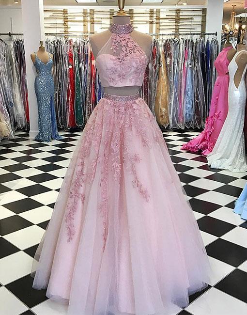 f2ef7c756d Elegant Pink Two Piece Prom Dress