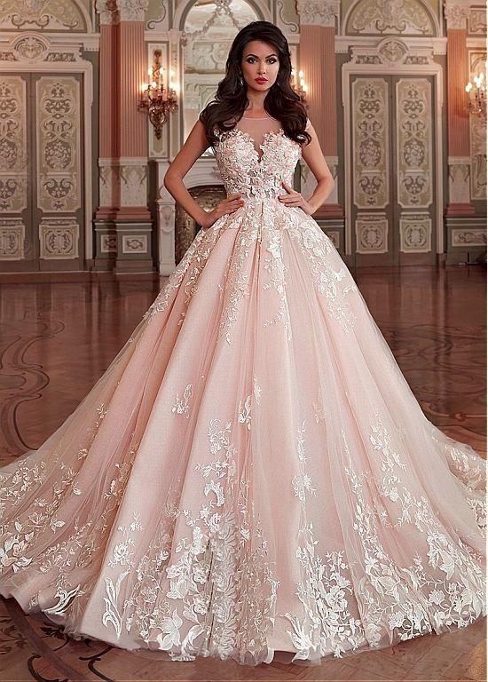 Stunning Light Pink Wedding Dress,Appliques Lace Sleeveless Bridal  Dress,Sexy V,Back Wedding Gown sold by bestdresstrade1002