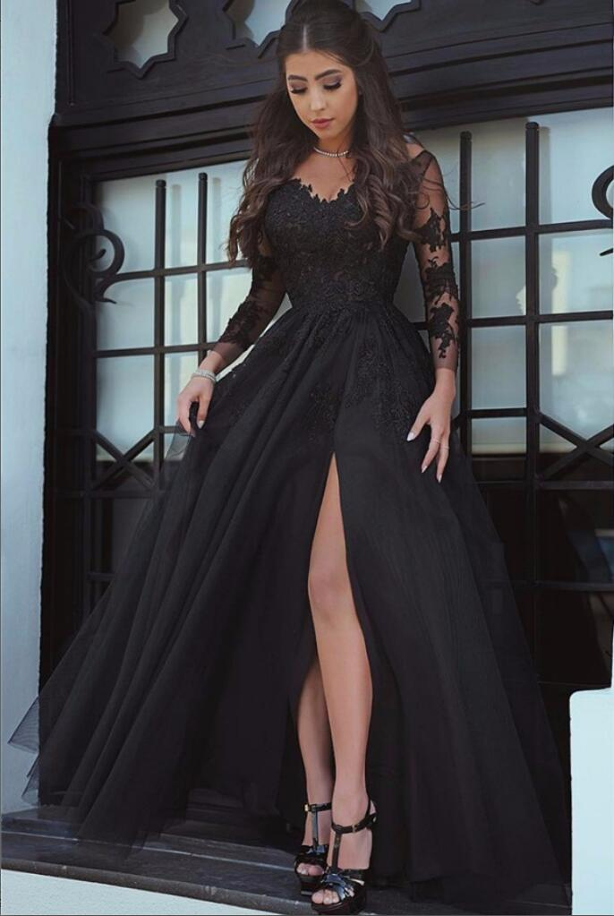 A Line Sexy Formal See Through Long Sleeves Lace Black Prom Dress ... 97c1d6a09
