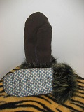 Image of Blue and Brown Checker Mittens Lined with Faux Fur