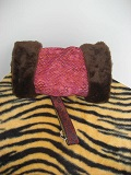 Image of Orange/Maroon Hand Muff lined with Faux Fur