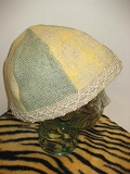 Image of 6 Panel Wool Hat Lined in Raw Silk with Jute Trim