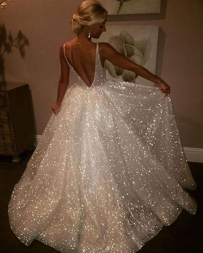 57e369d116f8 Sparkly V Neck White Long Prom Dress Ball Gown · wendyhouse · Online ...