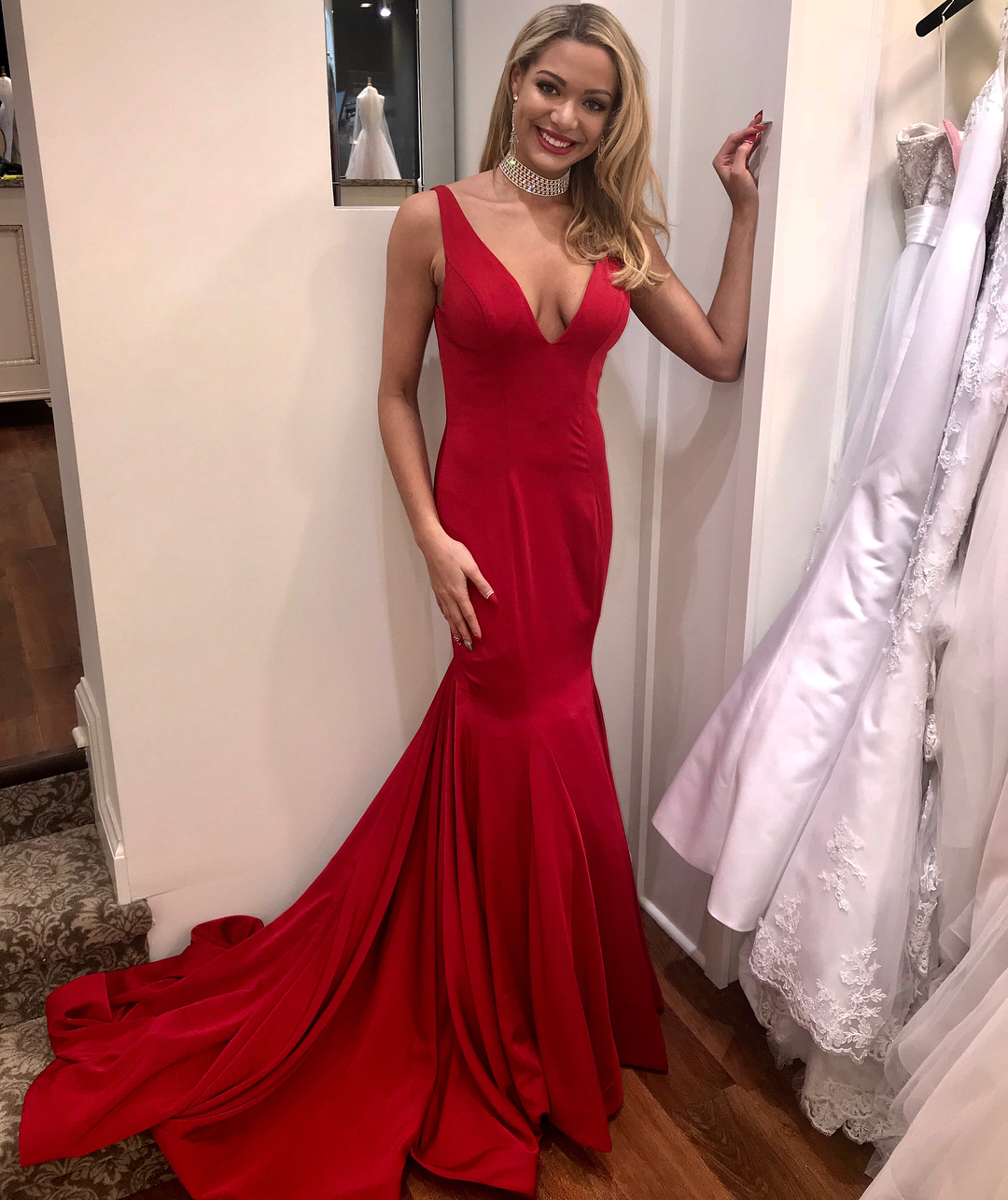 Mermaid Cocktail Dress: Sexy Mermaid Prom Dress Red Deep V-neck Prom Dresses Open