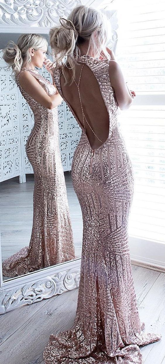 0eb29fc225485e rose gold mermaid evening dress,sequins prom dress,striped sequins dress,open  back
