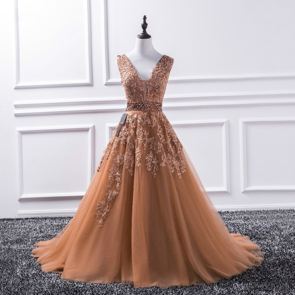 Sexy V Neck 2018 New Lace Long Prom Dresses Tulle Beaded Appliques Princess Ball  Gown Vintage Evening Dress on Storenvy a2fcc25ba
