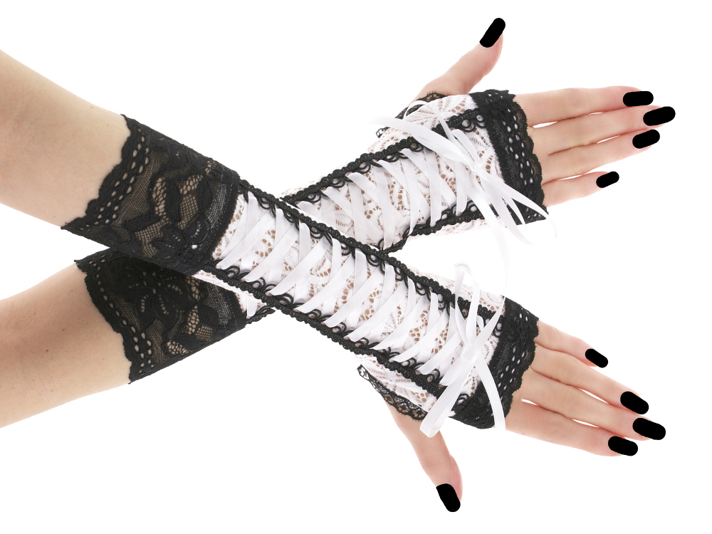 Womens White Lace Opera Length Evening Bridal Burlesque Gloves