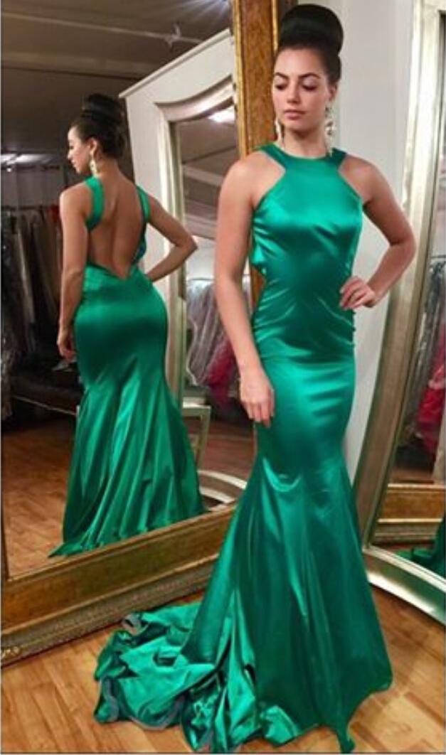 Green Halter Backless Satin Mermaid Prom Dresscustom Made Prom