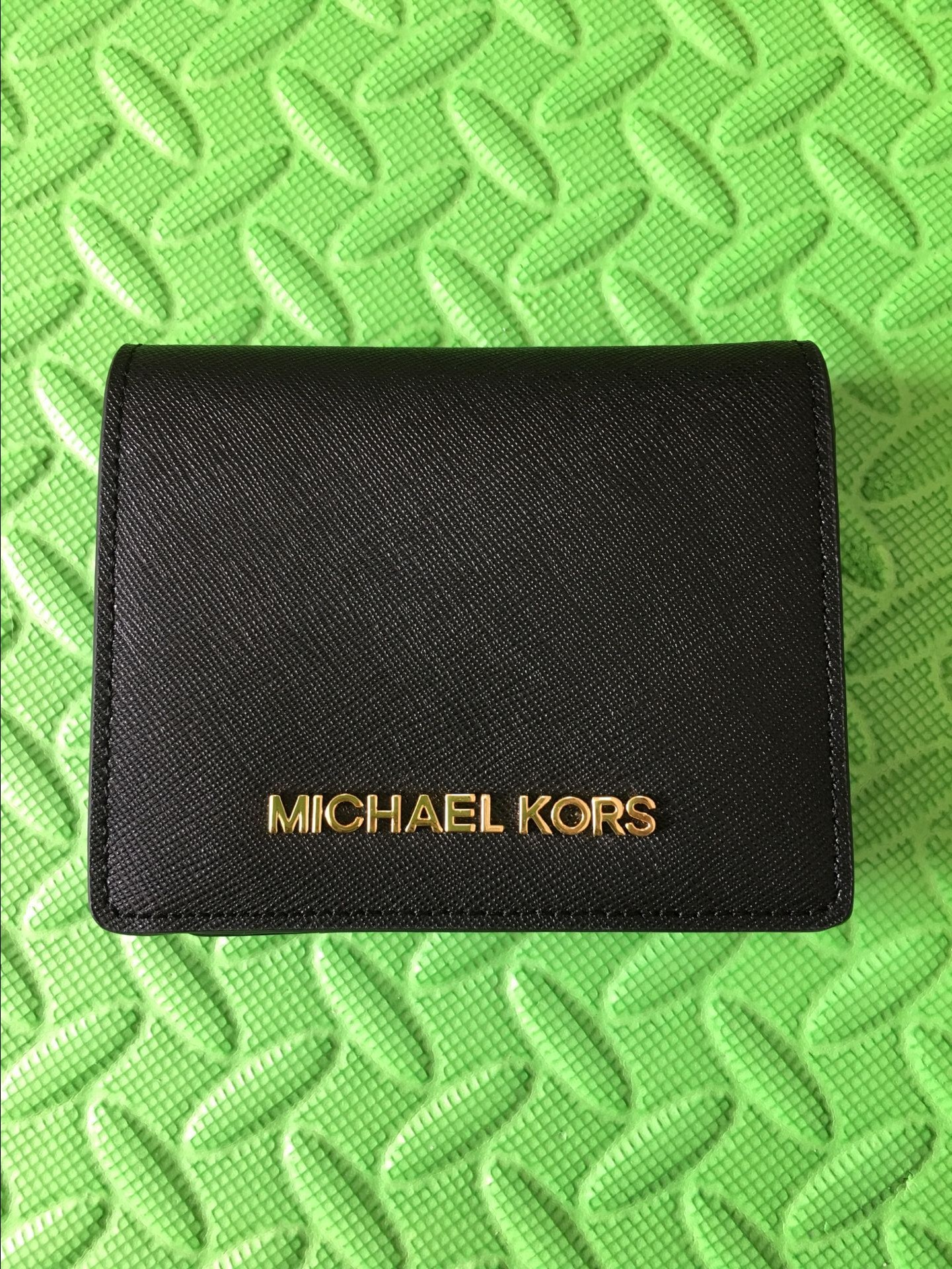 03b4ce094e75 Michael Kors Jet Set Travel Flap Card Holder Wallet Black Authentic ...
