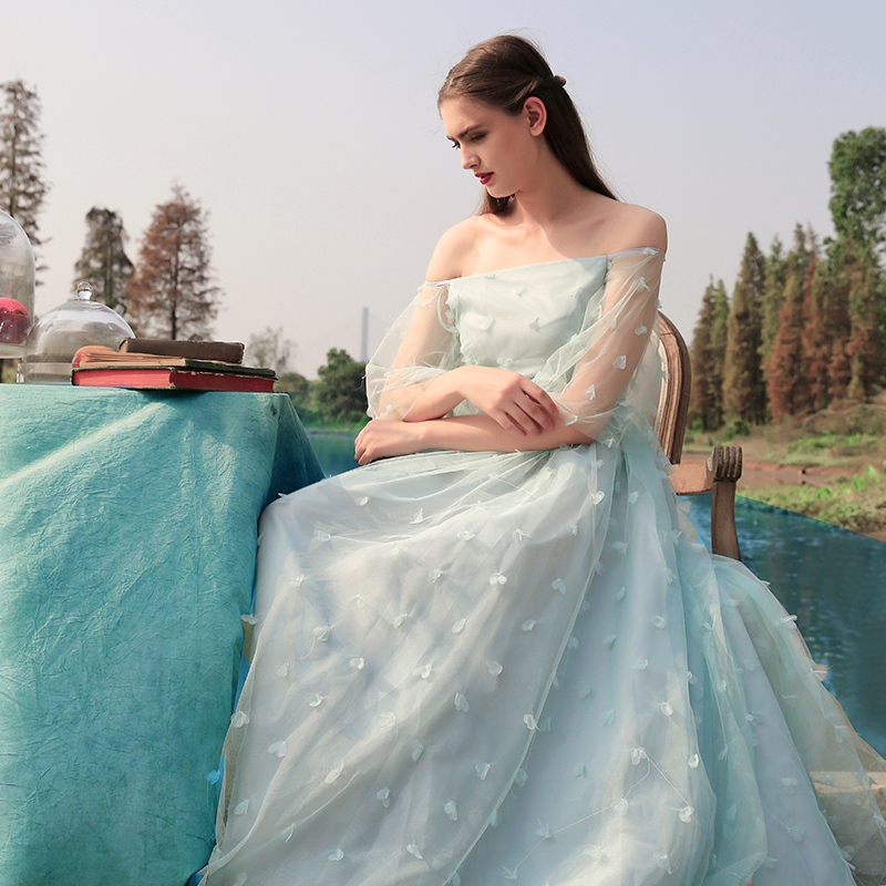 Fairy Wedding Dress.Mint Green Floral Tulle Off Shoulder Fairy Wedding Gown From Myfairlady