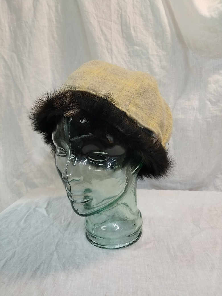 Image of 6 Panel Wool Hat, Lined in hair on hide Goat