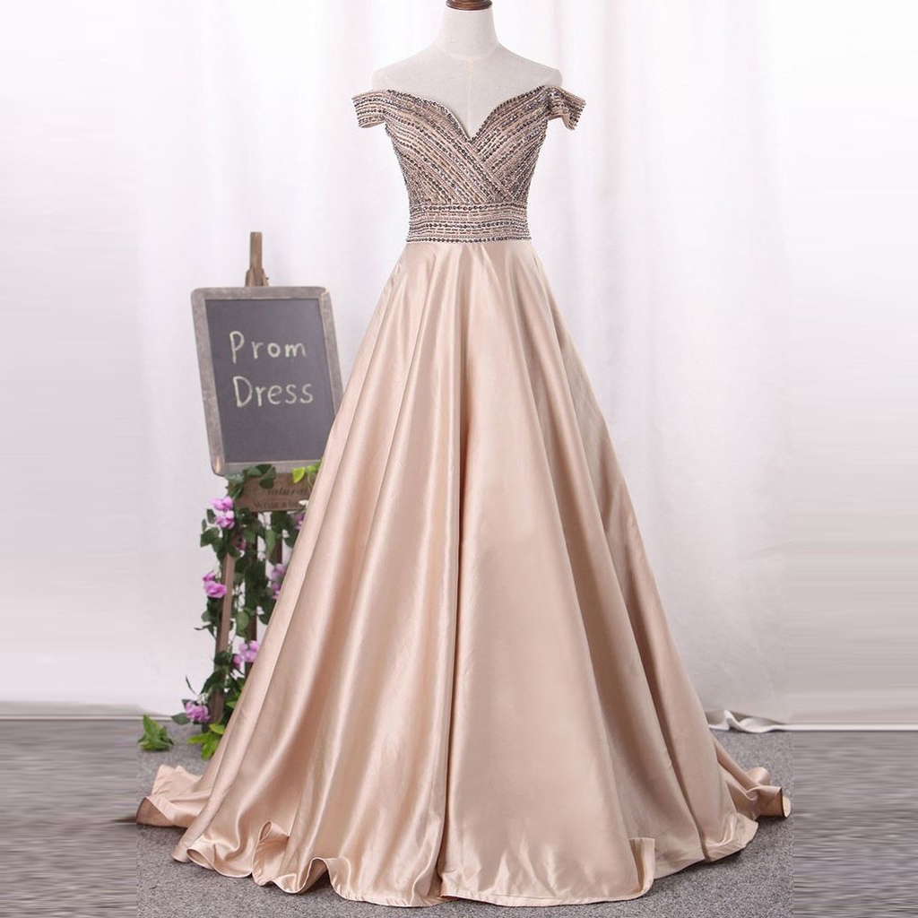 Off The Shoulder Champagne Prom Dress A Line Formal Gown With Beaded ...