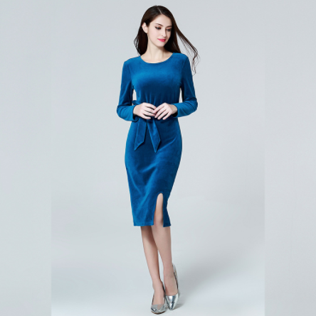 Light Blue Velvet Dresses Plus Size (Free Shipping) from Ryvic 27 Fashion