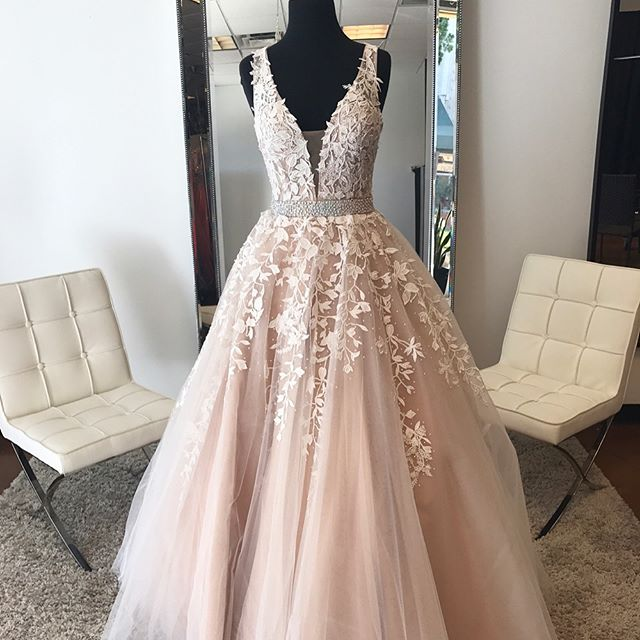 c190661591a Blush Pink Tulle 3D Floral Flowers Ball Gown Prom Dresses Crystal ...