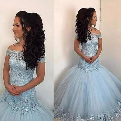 83996627111 Newest 2018 sky blue mermaid prom dresses off shoulder illusion lace  appliques beaded sweet 16 tulle