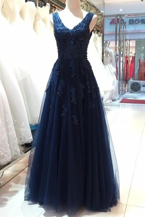 Floor Length V Neck Prom Dresses Open Back Evening Dresses Beautiful Navy Blue Prom Gowns V Neck